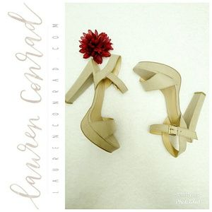 NWOT Lauren Conrad Tan Block Heels-Sz. 10👠